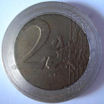 Moneta 2 euro falso conio