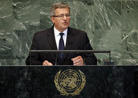 President of Poland Komorowski addresses the 67th United Nations General Assembly at U.N. headquarters in New York
