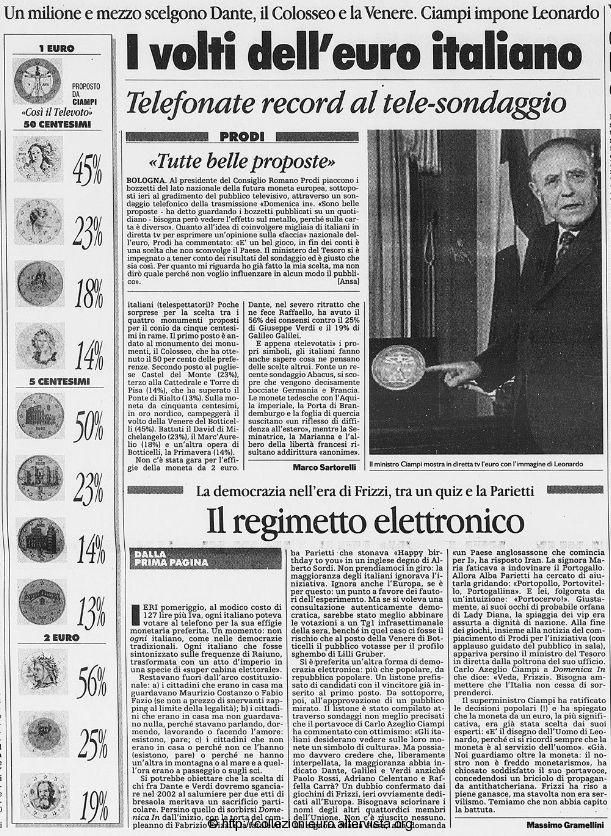 Volti dell'euro La stampa lunedi 9 febbraio 1998