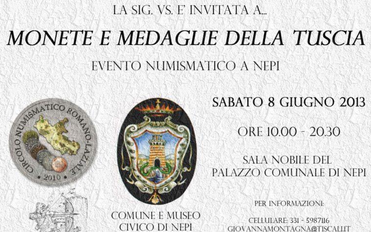 Nepi: 8 giugno 2013 evento culturale organizzato dal Circolo Numismatico Romano-Laziale.
