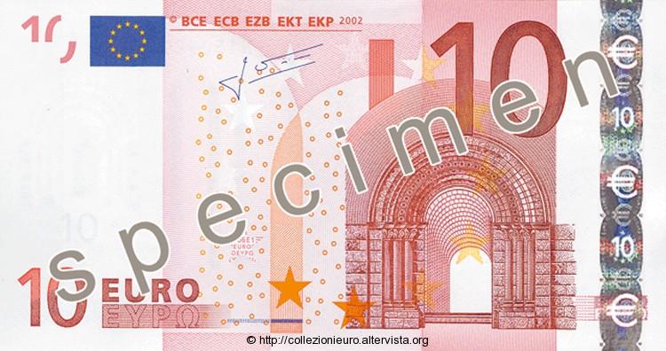 Banconota 10 euro prima serie 2002 a