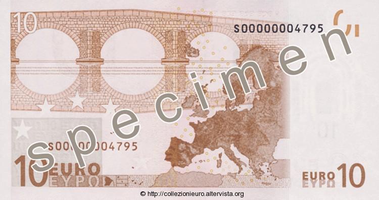 Banconota 10 euro prima serie 2002 b