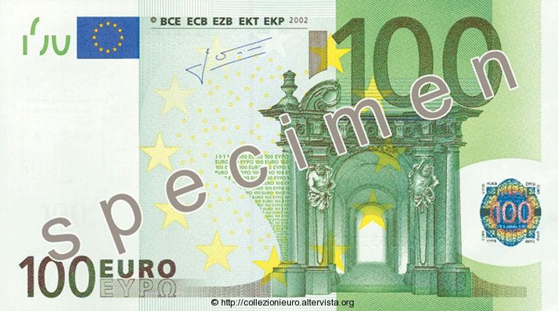 Banconota 100 euro prima serie 2002 a