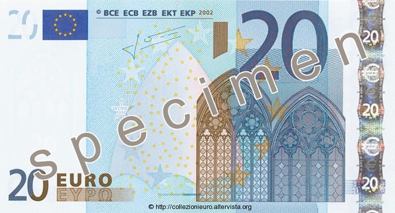 Banconota 20 euro prima serie 2002 a