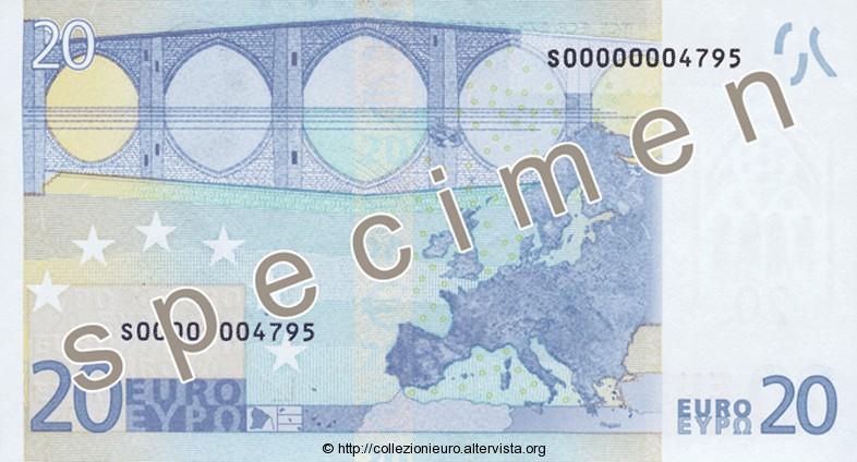 Banconota 20 euro prima serie 2002 b