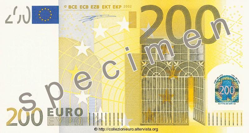 Banconota 200 euro prima serie 2002 a