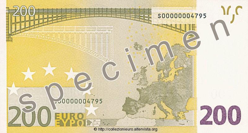 Banconota 200 euro prima serie 2002 b