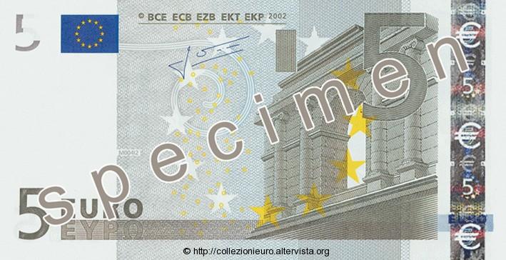 Banconota 5 euro prima serie 2002 a