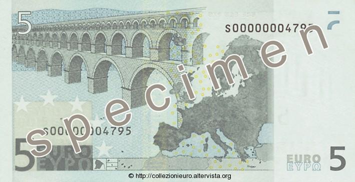 Banconota 5 euro prima serie 2002 b