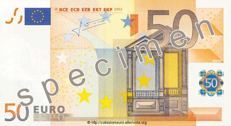 Banconota 50 euro prima serie 2002 a
