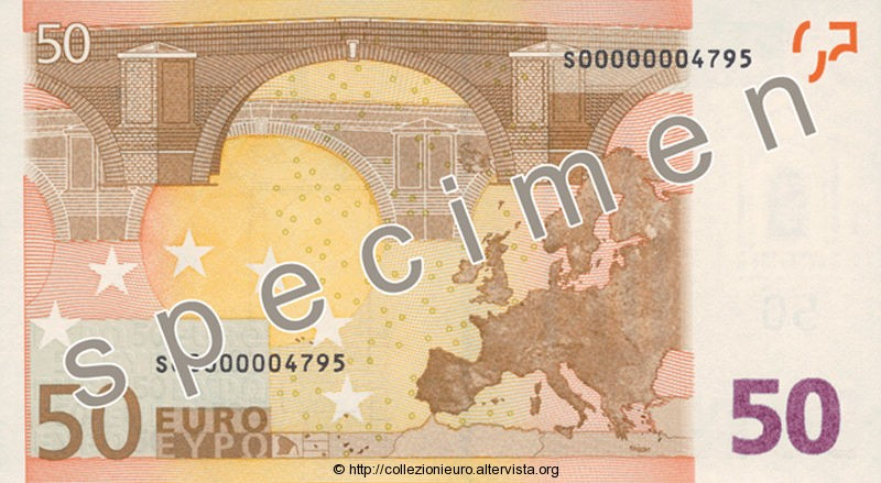 Banconota 50 euro prima serie 2002 b