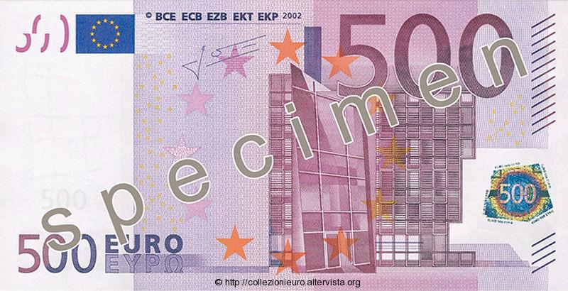Banconota 500 euro prima serie 2002 a