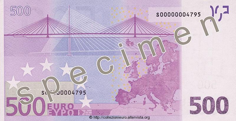 Banconota 500 euro prima serie 2002 b