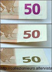 Banconote serie europa Inchiostro cangiante