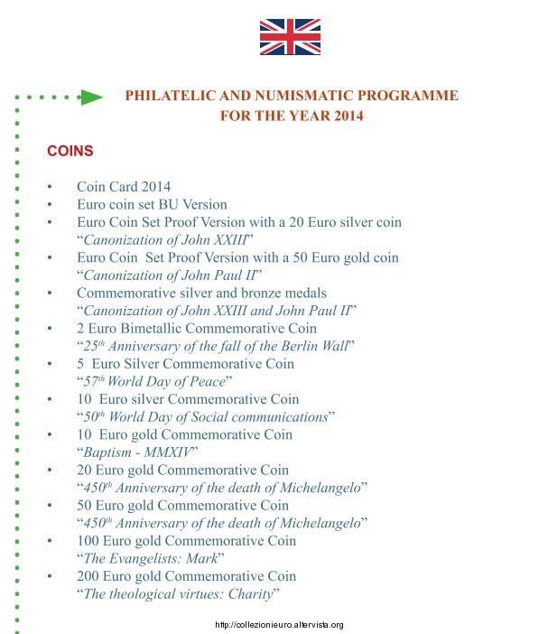 Vaticano Programma numismatico 2014 b