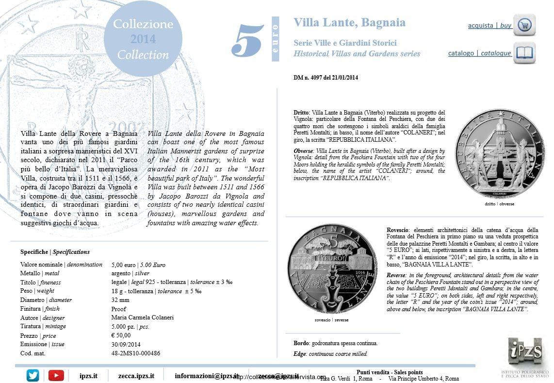 Italia scheda 5 euro villa lante bagnaia 2014