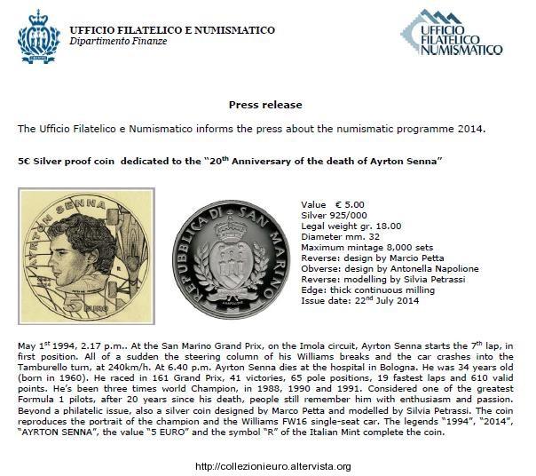 San Marino 5 euro Ayrton senna bozzetto 2014