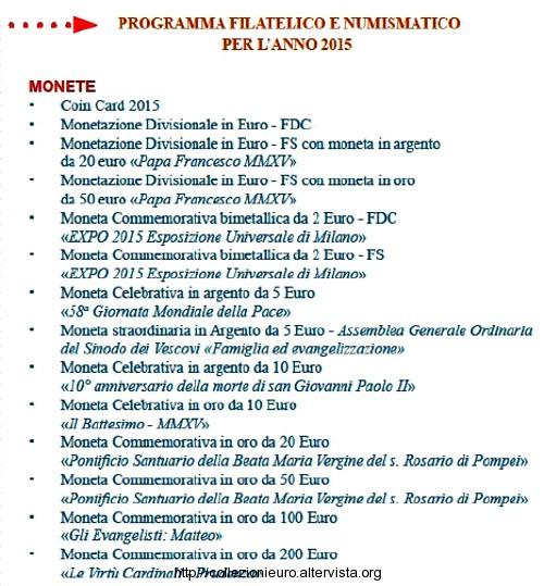 Vaticano programma numismatico 2015 b