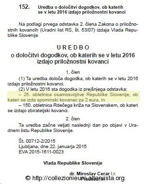 Gazzetta ufficiale SLOWENIEN-2016