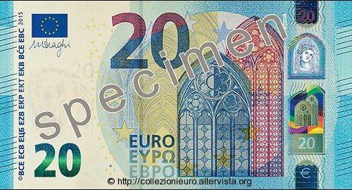 """Europa: presentata oggi la nuova banconota da 20 euro serie """"Europa"""" 2015."""