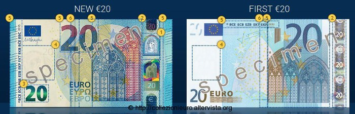 Banconote 20 euro Europa differenze sicurezza 2015a