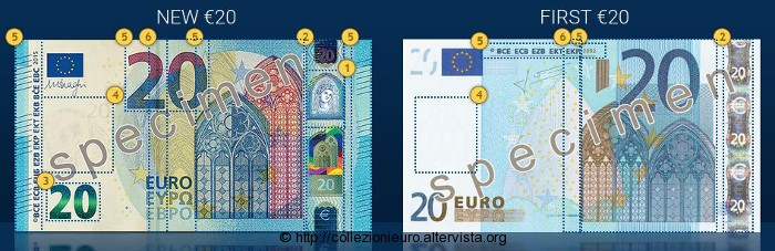Banconote 20 euro Europa differenze sicurezza 2015b