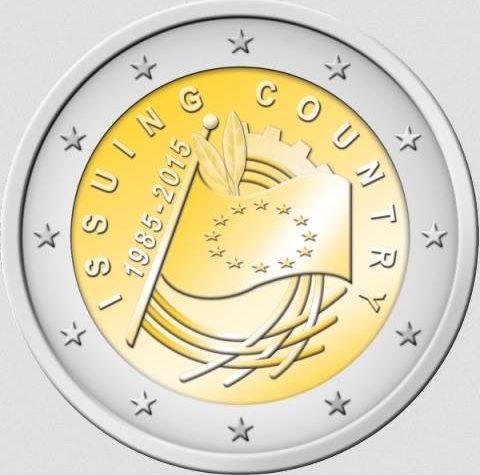 """Europa: primi bozzetti  moneta da 2 euro dedicata ai """"30 anni della Bandiera Europea"""" 2015."""
