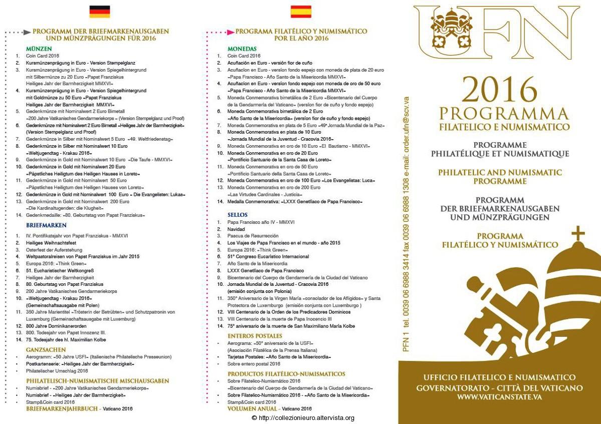 Vaticano Programma numismatico 2016a
