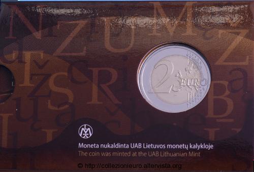 Lituania-coincard-2-euro-lingua-lituana-2015-ret