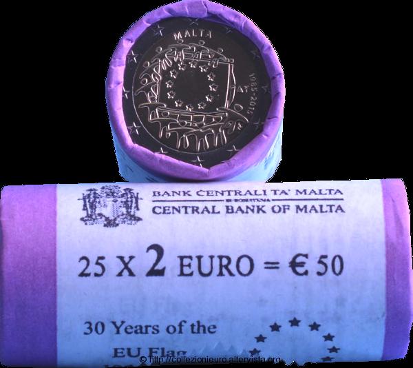 Malta rotolini 2 euro commemorativo 30 anni bandiera europea 2015x