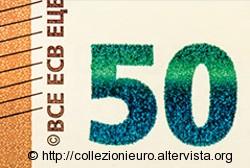 50 euro serie europa Sicurezza Muovi numero verde smeraldo