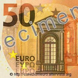 50 euro serie europa Sicurezza Tocca Carta