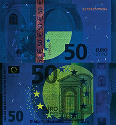 50 euro serie europa Sicurezza esposizione UV