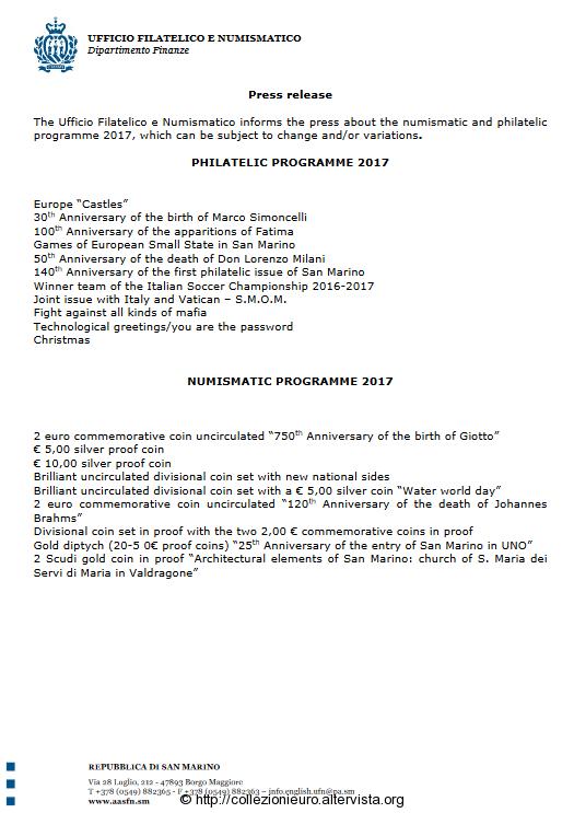 Programma San Marino numismatico per l'anno 2017