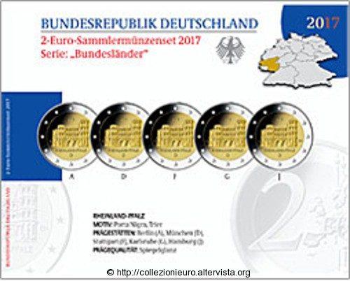 """Germania: Folder Serie 5 zecche BE dei 2 Euro """"Stati tedeschi serie – Rheinland-Pfalz, Porta Nigra"""" 2017."""