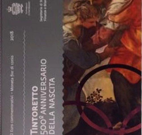 """San Marino: Folder BU 2 euro commemorativo """"500° anniversario della nascita del Tintoretto"""" 2018."""