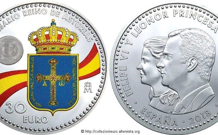"""Spagna: 30 euro commemorativo """"1300° anniversario del Regno delle Asturie"""" 2018."""
