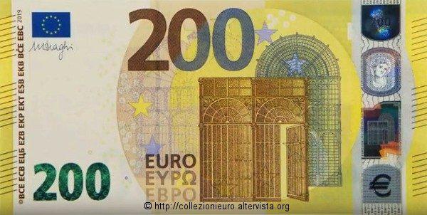 """Europa: nuova banconota da 200 euro serie """"Europa"""" 2019."""