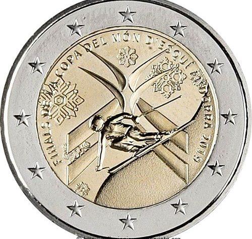 Andorra 2 euro commemorativo Finale della Coppa del Mondo di sci alpino 2019.