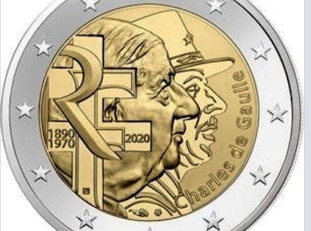 Francia 2 euro commemorativo 50º anniversario della morte di Charles de Gaulle e 80º anniversario dell'Appello del 18 giugno.