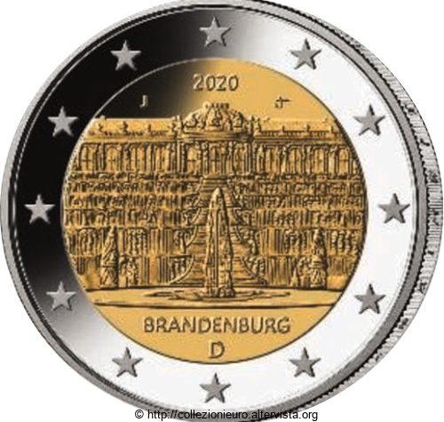 Germania  2 euro commemorativo Brandeburgo – Palazzo di Sanssouci Potsdam 2020.