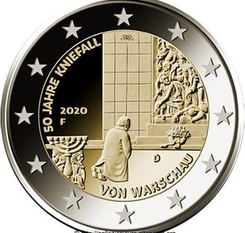 Germania 2 euro commemorativo 50º anniversario della Genuflessione di Varsavia 2020.