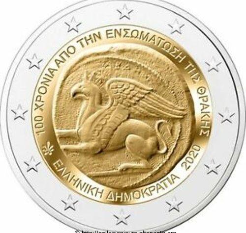 Grecia 2 euro commemorativo 100º anniversario dell'annessione della Tracia alla Grecia 2020.