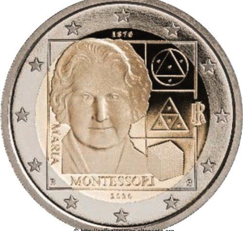 Italia 2 euro commemorativo 150º anniversario della nascita di Maria Montessori 2020.