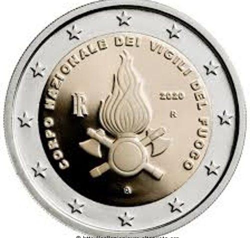 Italia 2 euro commemorativo 80º anniversario della fondazione del Corpo Nazionale dei Vigili del Fuoco 2020.