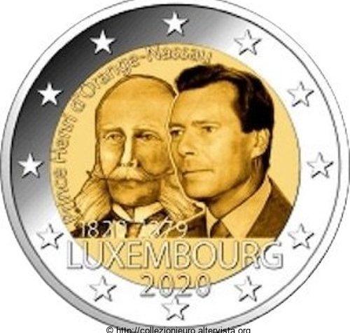 Lussemburgo 2 euro commemorativo 200º anniversario della nascita del Principe Henri di Orange-Nassau 2020.