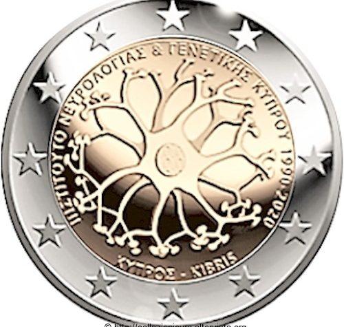 Cipro  2 euro commemorativo 30° anniversario dell'Istituto di Neurologia e Genetica di Cipro